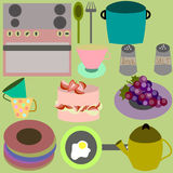 Set of different kitchen tools Royalty Free Stock Photos