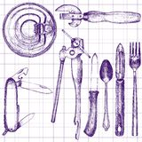 Set of different kitchen utensil Stock Photos
