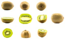 A set of different kiwis. A set of kiwis whole and cut in half put in different positions on a white background royalty free stock photos