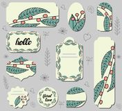 Set of different labels withof doodle red berries and green leaves. vector illustration