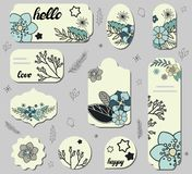 Set of different labels with blue daisy flowers and cute doodles. stock illustration