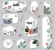 Set of different labels with doodle flowers, dogrose and leaves. stock illustration