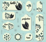 Set of different labels with cute doodle flowers. Collection with different floral paper labels for announcements. Round, square, royalty free illustration