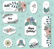 Set of different labels with cute doodle flowers. Collection with different floral paper labels for announcements. Round, square, vector illustration