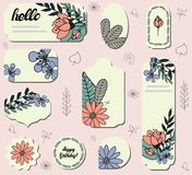 Set of different labels with cute doodle flowers. stock illustration