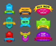 Set of different labels with ribbons Royalty Free Stock Image