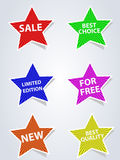 Set of different labels star Royalty Free Stock Images
