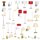 Set of different lamps. A collection of various household lamps and table lamps, sconce and torcheres Stock Photo