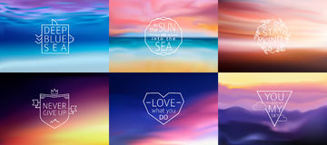 Set of 6 different landscape blurred backgrounds with typography text. Vector Royalty Free Stock Photos