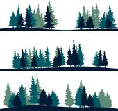 Set of different landscape with fir-trees. Set of different silhouettes of landscape with fir-trees, vector illustration Stock Image