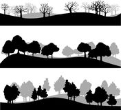 Set of different landscape with trees Stock Photography