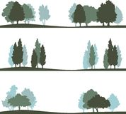 Set of different landscape with trees Stock Images