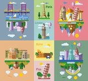 Set of different landscapes in the flat style,vector Royalty Free Stock Image