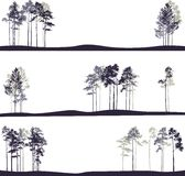 Set of different landscapes with pine trees Royalty Free Stock Photo