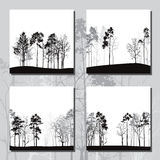 Set of different landscapes with pine trees Stock Image
