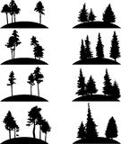 Set of different landscapes with trees Stock Photo