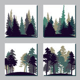 Set of different landscapes with trees Royalty Free Stock Photo