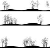 Set of different landscapes with winter trees Stock Photos