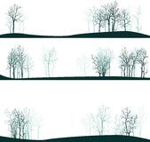 Set of different landscapes with winter trees Royalty Free Stock Images