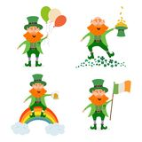 Set of different leprechauns for St. Patrick`s Day stock illustration