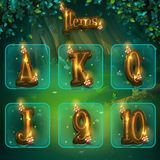 Set of different letters for game user interface. Vector illustration screen to the computer game Shadowy forest GUI. Background image to create buttons Stock Images