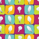Set of different Light-bulb. Seamless pattern with light bulb. Wallpaper with lightbulb. Set of different Light-bulb vector illustration. Seamless pattern royalty free illustration