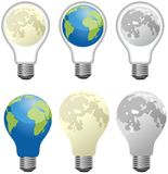 Set of different light bulbs designed as Moon and Earth Royalty Free Stock Images