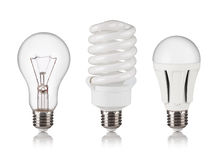 Set of different light bulbs Stock Images