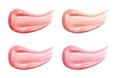 Set of different lip glosses pastel color smear samples isolated on white. Smudged makeup product Royalty Free Stock Photo