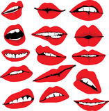 Set of different lips Stock Image