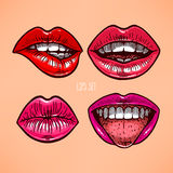 Set of different lips Stock Photos