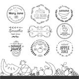 Set of different logotype templates for fruit smoothie and juice Stock Images