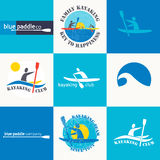 Set of different logotype templates for kayaking. Vector athleti Royalty Free Stock Image