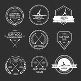 Set of different logotype templates for stand up paddle yoga. Vector athletic labels and badges. Vector flat design style illustration of icons. Template for Stock Images