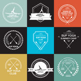 Set of different logotype templates for stand up paddle yoga. Vector athletic labels and badges. Vector flat design style illustration of icons. Template for Stock Photo