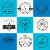 Set of different logotype templates for stand up paddle yoga Stock Image
