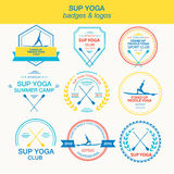 Set of different logotype templates for stand up paddle yoga Royalty Free Stock Photo