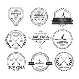 Set of different logotype templates for stand up paddle yoga Royalty Free Stock Photos