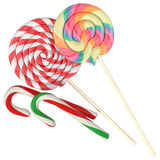 Set of different lollipops on a white background Royalty Free Stock Photos
