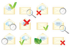 Set of different mail envelope icons Royalty Free Stock Images
