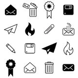 Set with different mail icons. Set with mail icons in modern style. High quality symbols for web site design and mobile apps. Simple mail pictograms on a whitr Royalty Free Stock Photo