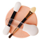 Set of different makeup sponge and brush stock photo