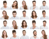 Set of different male and female faces Stock Photography