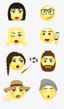 Set of different male and female modern new hipster emotions. Brunette emotion, emotion in glasses, emotion blond girl, emotion talking on smartphone, emotion Royalty Free Stock Photos