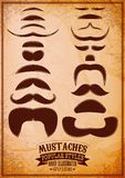 Set of different male mustache on grungy background Stock Photos