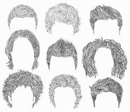 Set  different  man hairs styling . beauty  fashion styles .  hand graphics .   cut mask wigs coll Stock Image