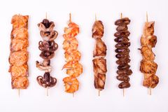 Set of different meat skewers Stock Images