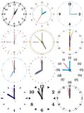 A set of different mechanical clocks with an image of each of the twelve hours. Clock face on white background stock illustration
