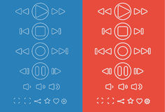 Set of different media icons. Vector illustration Royalty Free Stock Photos