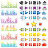 Set of the different media player buttons and diag Stock Photo